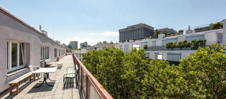 Terrasse am Dach | StudentInnenwohnhaus Tendlergasse 1090  Wien